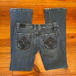 Miss Me Bootcut Jeans Sz 27 Black Bling Accent EUC